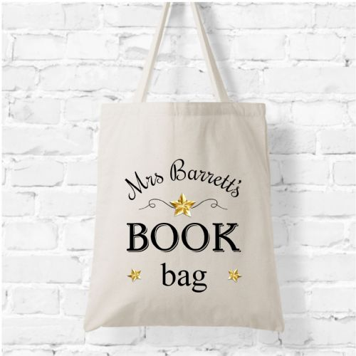 Personalised Natural Soft Tote Bag N8 - Any Name's Book Bag